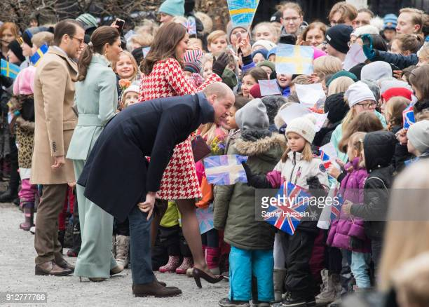 Prince William Duke of Cambridge and Catherine Duchess of Cambridge accompanied by Crown Princess Victoria of Sweden and Prince Daniel of Sweden...