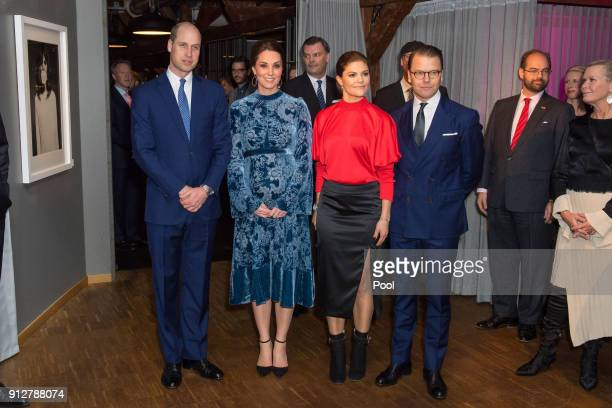 Prince William Duke of Cambridge and Catherine Duchess of Cambridge with Crown Princess Victoria and Prince Daniel of Sweden during a reception to...