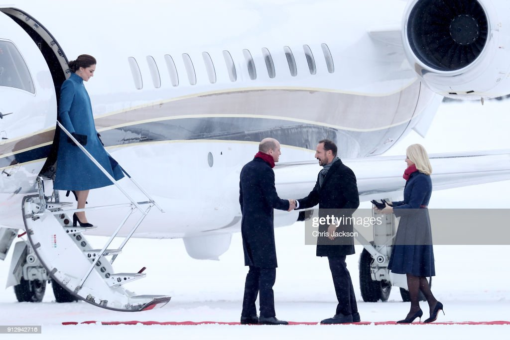 Prince William, Duke of Cambridge and Catherine, Duchess of Cambridge are greeted by Crown Prince Haakon and Crown Princess Mette-Marit of Norway as they arrive to Oslo Gardermoen Airport on day 3 of their visit to Sweden and Norway on February 1, 2018 in Oslo, Norway.