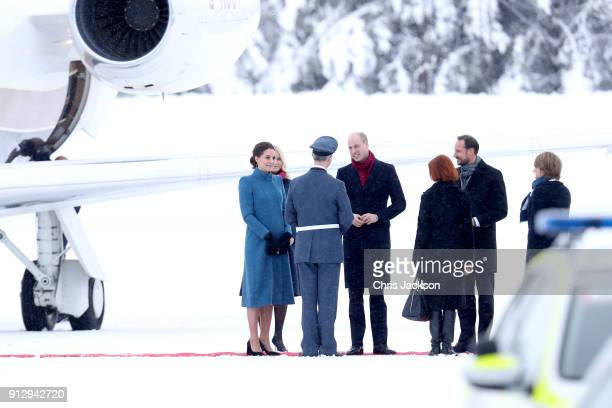 Prince William Duke of Cambridge and Catherine Duchess of Cambridge are greeted by Crown Prince Haakon and Crown Princess MetteMarit of Norway as...