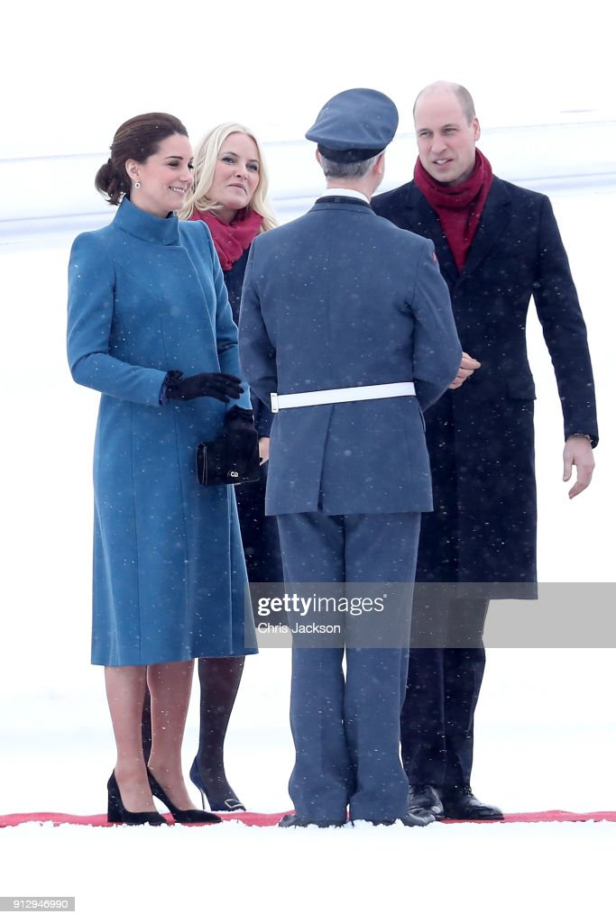 Prince William, Duke of Cambridge and Catherine, Duchess of Cambridge arrive to Oslo Gardermoen Airport to meet with Crown Prince Haakon and Crown Princess Mette-Marit of Norway on day 3 of their visit to Sweden and Norway on February 1, 2018 in Oslo, Norway.