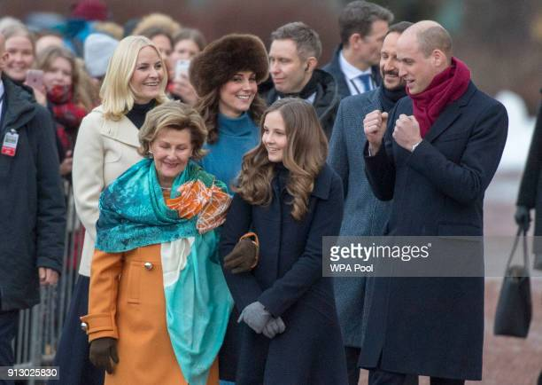 Prince William Duke of Cambridge and Catherine Duchess of Cambridge arrive accompanied by Queen Sonja of Norway and Princess Ingrid Alexandra of...