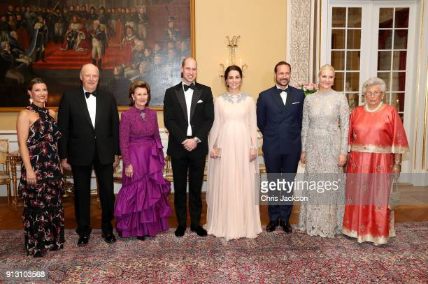 Prince William Duke of Cambridge and Catherine Duchess of Cambridge pose with Princess Martha Louise of Norway Harald V of Norway Queen Sonja of...
