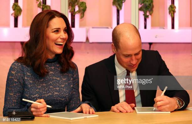 Prince William Duke of Cambridge and Catherine Duchess of Cambridge visit 'MESH' a workspace for startup tech companies on day 3 of their visit to...