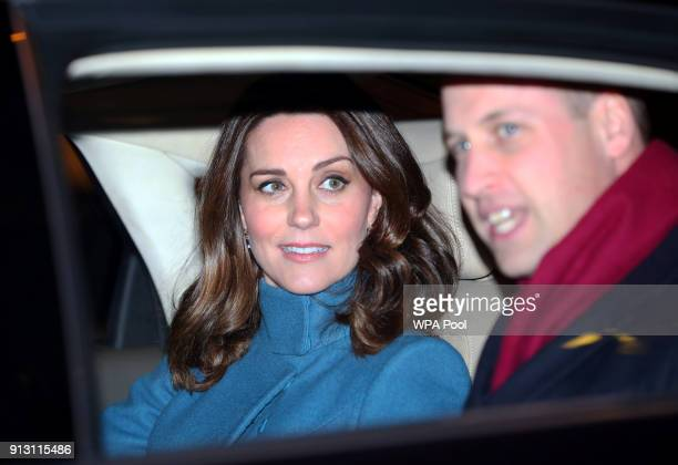 Prince William Duke of Cambridge and Catherine Duchess of Cambridge leave in their car after visiting 'MESH' a workspace for startup tech companies...