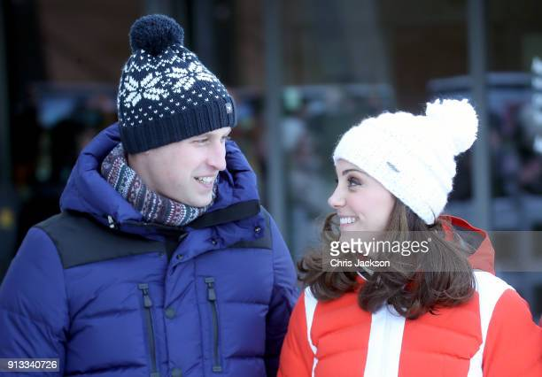 Prince William Duke of Cambridge and Catherine Duchess of Cambridge arrive at Holmenkollen ski jump where they will take a short tour of the museum...