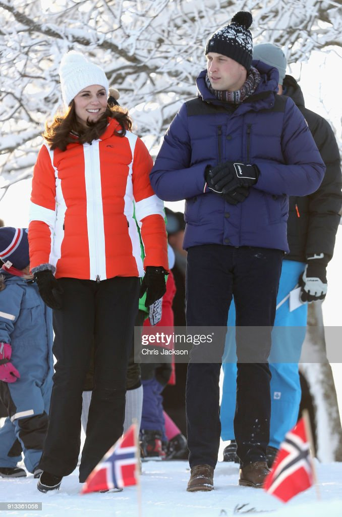Prince William, Duke of Cambridge and Catherine, Duchess of Cambridge attend an event organised by the Norwegian Ski Federation, where they join local nursery children in a number of outdoors activities at Holmenkollen ski jump on day 4 of their visit to Sweden and Norway on February 2, 2018 in Oslo, Norway.