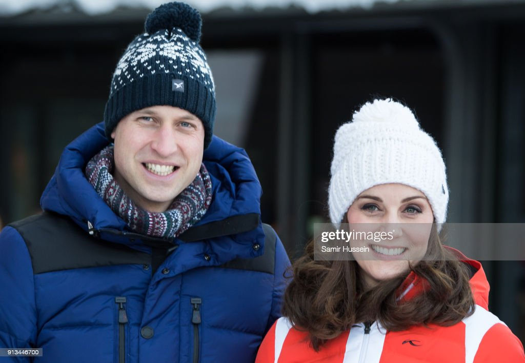 Prince William, Duke of Cambridge and Catherine, Duchess of Cambridge arrive at Holmenkollen ski jump, where they will take a short tour of the museum before ascending to the top of ski jump to talk with and observe junior ski jumpers from Norway's national team on day 4 of their visit to Sweden and Norway on February 2, 2018 in Oslo, Norway.