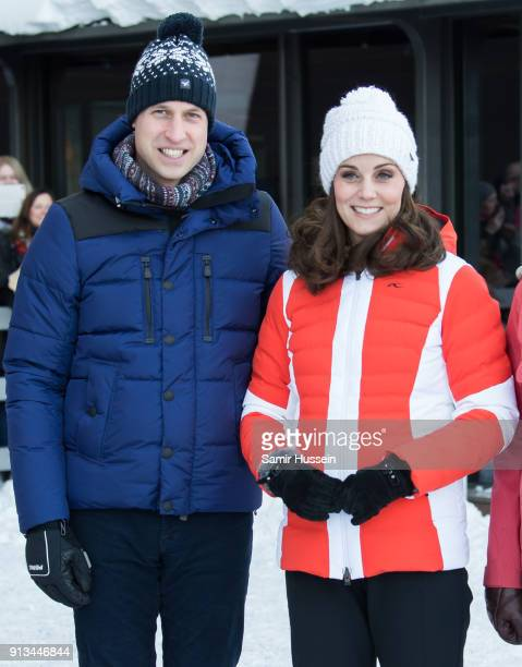 Prince William, Duke of Cambridge and Catherine, Duchess of Cambridge arrive at Holmenkollen ski jump, where they will take a short tour of the...
