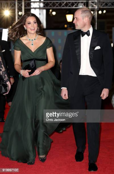 Prince William Duke of Cambridge and Catherine Duchess of Cambridge attend the EE British Academy Film Awards held at Royal Albert Hall on February...