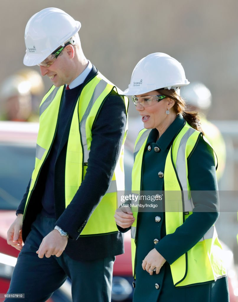 Prince William, Duke of Cambridge and Catherine, Duchess of Cambridge visit the Northern Spire, a new bridge over the River Wear, on February 21, 2018 in Sunderland, England. The Northern Spire, a 1550 tonne pylon structure, is a key part of a wider transport plan to improve links between the Port of Sunderland and the city centre with the A19.
