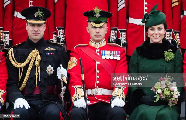 Prince William Duke of Cambridge and Catherine Duchess of Cambridge attend the annual Irish Guards St Patrick's Day Parade at Cavalry Barracks on...
