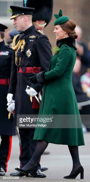 Prince William, Duke of Cambridge and Catherine, Duchess of Cambridge attend the annual Irish Guards St Patrick's Day Parade at Cavalry Barracks on...