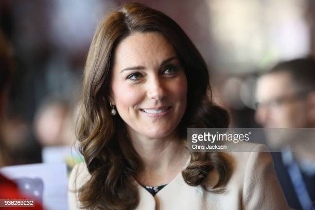 Prince William Duke of Cambridge and Catherine Duchess of Cambridge take part in a Commonwealth Quiz in which athletes coaches and supporters are...