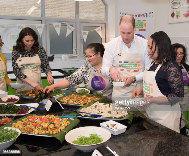 Prince William Duke of Cambridge and Catherine Duchess of Cambridge take part in preparations for a Commonwealth Big Lunch at St Luke's Community...