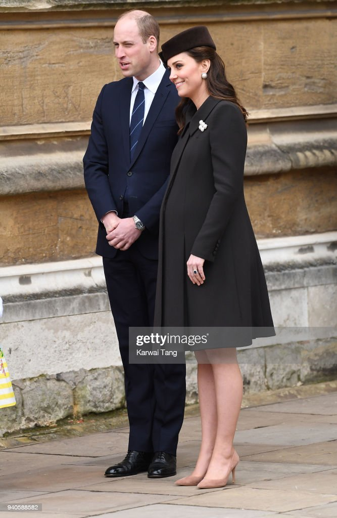 Prince William, Duke of Cambridge and Catherine, Duchess of Cambridge leave an Easter Service at St George's Chapel on April 1, 2018 in Windsor, England.