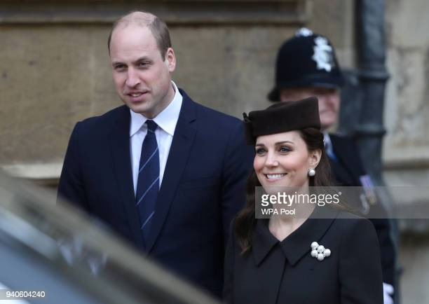 Prince William Duke of Cambridge and Catherine Duchess of Cambridge leave after the Easter Mattins Service at St George's Chapel at Windsor Castle on...