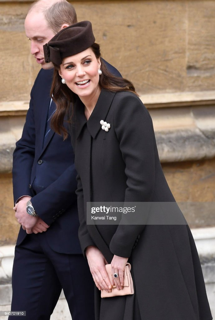 Prince William, Duke of Cambridge and Catherine, Duchess of Cambridge depart after attending an Easter Service at St George's Chapel on April 1, 2018 in Windsor, England.