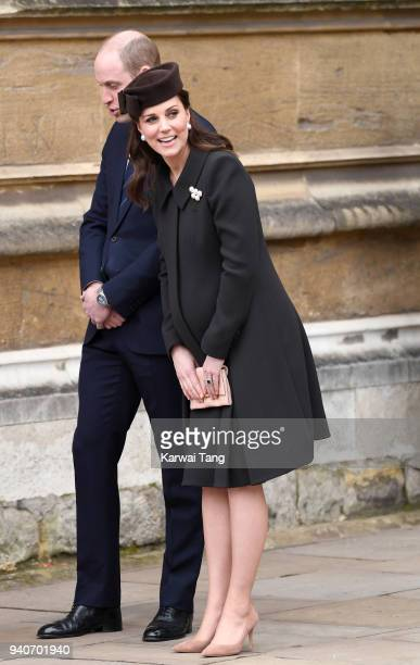 Prince William Duke of Cambridge and Catherine Duchess of Cambridge depart after attending an Easter Service at St George's Chapel on April 1 2018 in...