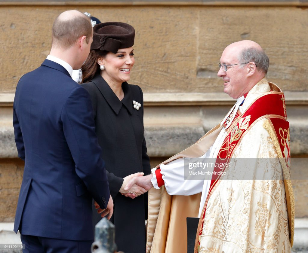 Prince William, Duke of Cambridge and Catherine, Duchess of Cambridge are greeted by the Dean of Windsor The Right Reverend David Conner as they attend the traditional Easter Sunday church service at St George's Chapel, Windsor Castle on April 1, 2018 in Windsor, England.