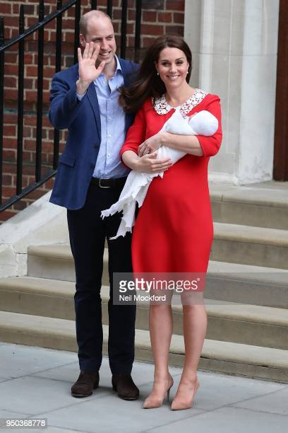 Prince William, Duke of Cambridge and Catherine, Duchess Of Cambridge depart The Lindo Wing with their new baby boy on April 23, 2018 in London,...
