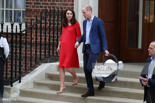 Prince William Duke of Cambridge and Catherine Duchess Of Cambridge depart The Lindo Wing with their new baby boy on April 23 2018 in London England