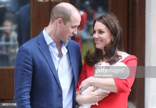 Prince William Duke of Cambridge and Catherine Duchess of Cambridge depart the Lindo Wing with their newborn son Prince Louis of Cambridge at St...
