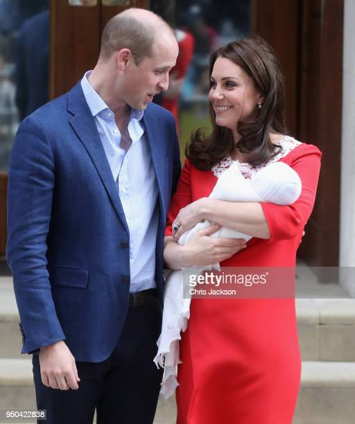 Prince William Duke of Cambridge and Catherine Duchess of Cambridge depart the Lindo Wing with their new born son Prince Louis of Cambridge at St...