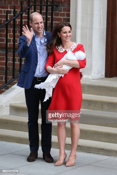 Prince William Duke of Cambridge and Catherine Duchess Of Cambridge outside The Lindo Wing with their new baby boy on April 23 2018 in London England