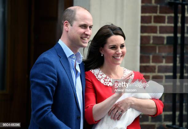 Prince William Duke of Cambridge and Catherine Duchess of Cambridge leave the Lindo Wing at St Mary's Hospital with their newborn son Prince Louis of...