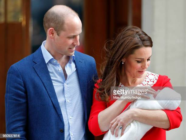 Prince William Duke of Cambridge and Catherine Duchess of Cambridge depart the Lindo Wing of St Mary's Hospital with their newborn baby son on April...