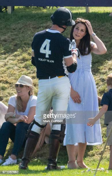 Prince William Duke of Cambridge and Catherine Duchess of Cambridge during the Maserati Royal Charity Polo Trophy at Beaufort Park on June 10 2018 in...