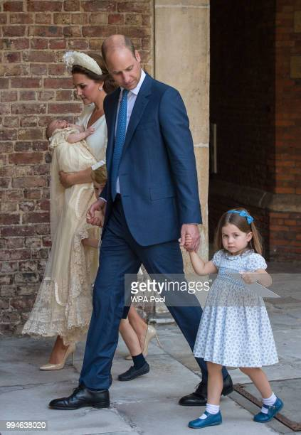 Prince William Duke of Cambridge and Catherine Duchess of Cambridge with their children Prince George Princess Charlotte and Prince Louis after...