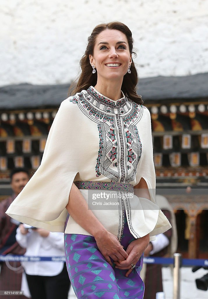 Prince William, Duke of Cambridge and Catherine, Duchess of watch a Bhutanese archery demonstration on the first day of a two day visit to Bhutan on the 14th April 2016 in Paro, Bhutan. The Royal couple are visiting Bhutan as part of a week long visit to India and Bhutan that has taken in cities such as Mumbai, Delhi, Kaziranga, Bhutan and Agra.