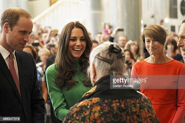 Prince William Duke of Cambridge and Catherine the Duchess of Cambridge receive a Welcome to Country from a Ngunnawal Elder in the Marble Hall at...