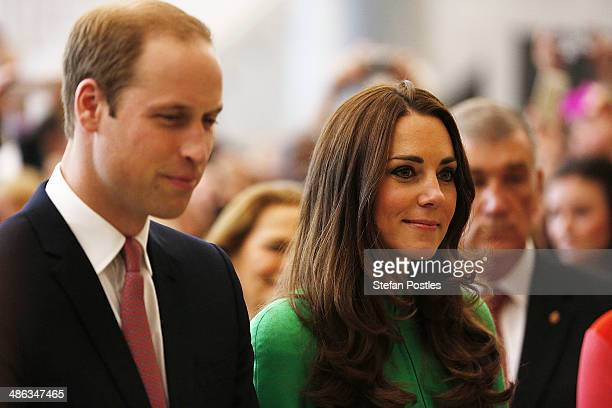 Prince William Duke of Cambridge and Catherine the Duchess of Cambridge make their way through the Marble Hall at Parliament House on April 24 2014...