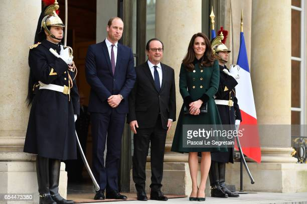 Prince William, Duke of Cambridge and Catherine,Duchess of Cambridge pose prior a meeting with French President Francois Hollande at the Elysee...