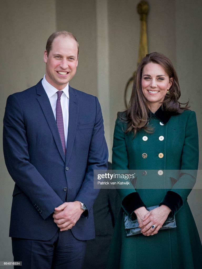 Prince William, Duke of Cambridge and Catherine,Duchess of Cambridge visit French President Francois Hollande at the Elysee Palace during day one of their visit on March 17, 2017 in Paris, France.