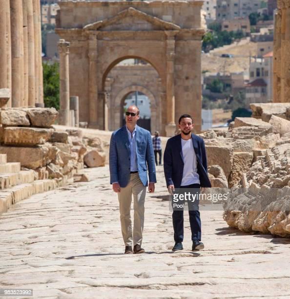 Prince William Duke of Cambridge and Crown Prince Hussein of Jordan visit the Jerash archaeological site on June 25 2018 in Amman Jordan