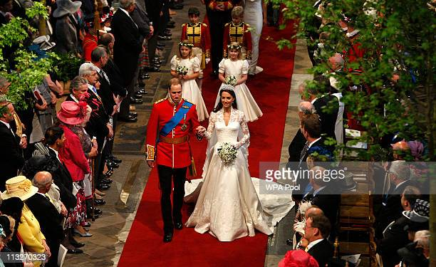 Prince William, Duke of Cambridge and his new bride Catherine, Duchess of Cambridge walk down the aisle at the close of their wedding ceremony at...