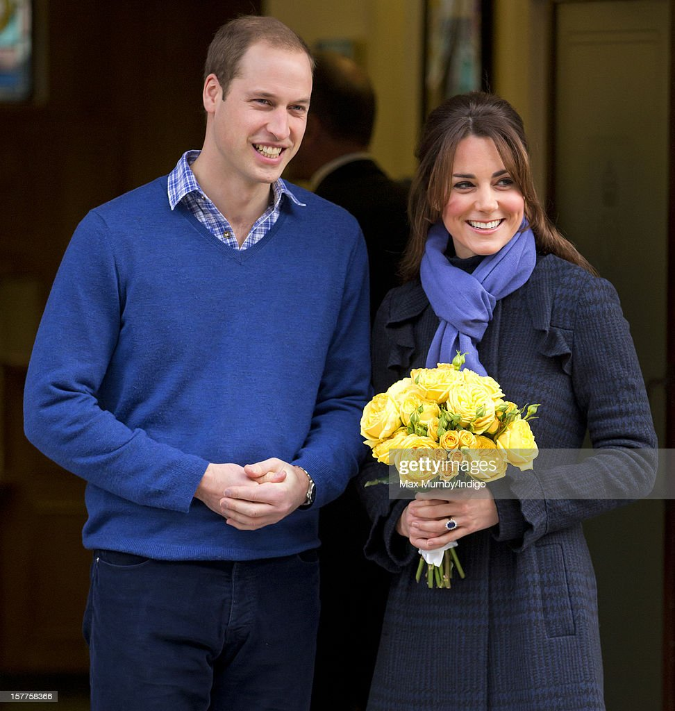 Prince William, Duke of Cambridge and his pregnant wife Catherine, Duchess of Cambridge leave the King Edward VII hospital where the Duchess was being treated for acute morning sickness (Hyperemesis Gravidarum) on December 06, 2012 in London, England.