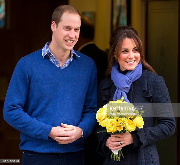 Prince William Duke of Cambridge and his pregnant wife Catherine Duchess of Cambridge leave the King Edward VII hospital where The Duchess was being...