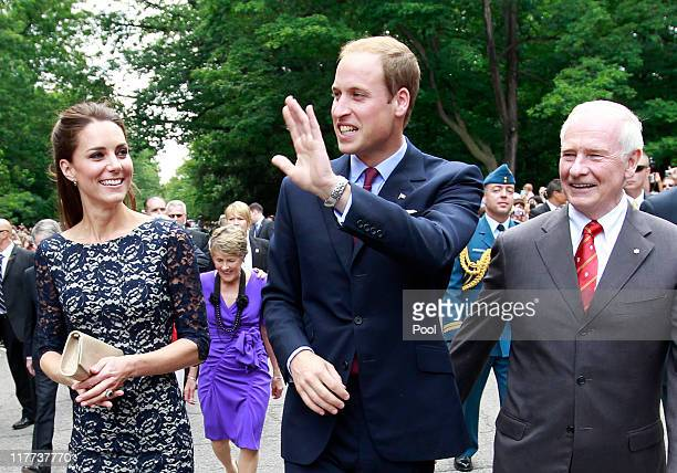 Prince William, Duke of Cambridge and his wife Catherine, Duchess of Cambridge, arrive at an official welcoming ceremony with Canadian Governor...
