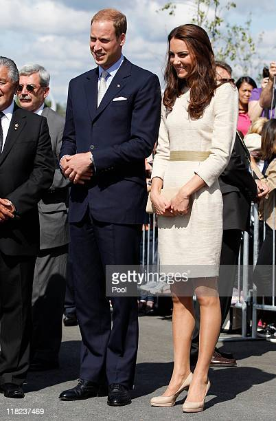 Prince William Duke of Cambridge and his wife Catherine Duchess of Cambridge visit the Somba K'e Civic Plaza on July 5 2011 in in Yellowknife...