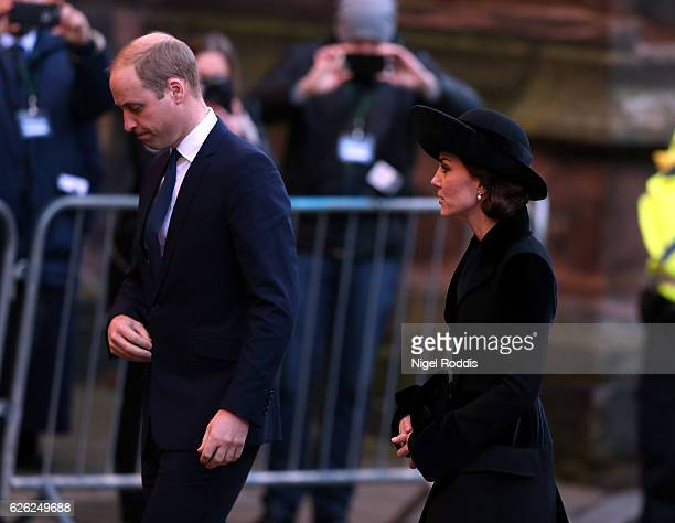 Prince William Duke of Cambridge and his wife Catherine Duchess of Cambridge arrive for the memorial service of The Duke of Westminster at Chester...
