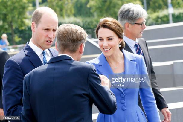 Prince William Duke of Cambridge and his wife Catherine Duchess of Cambridge visit the Monument to the Murdered Jews of Europe also known as the...