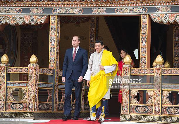 Prince William, Duke of Cambridge and King Jigme Khesar Namgyel Wangchuck attend a welcome and audience at TashichhoDong on April 14, 2016 in...