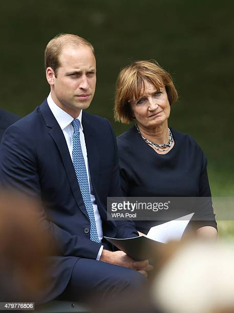 Prince William Duke of Cambridge and Labour MP Tessa Jowell before laying a wreath at the July 7 memorial in Hyde Park to commemorate the tenth...