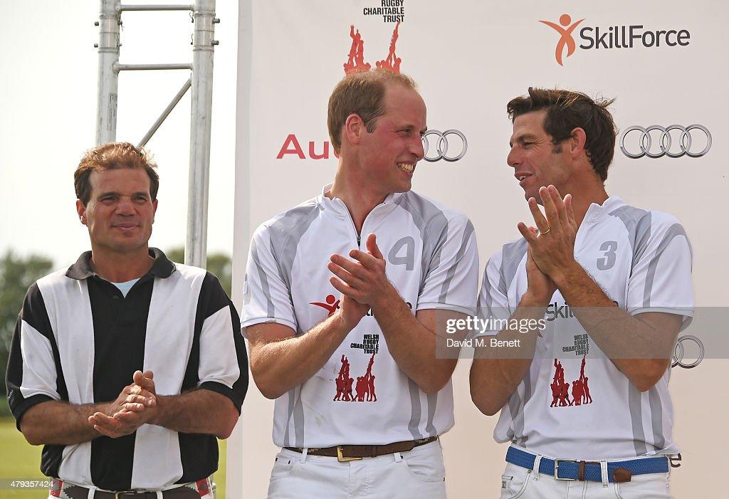 Prince William, Duke of Cambridge, (C) and Malcolm Borwick attend the Audi Polo Challenge 2015 at Cambridge County Polo Club on July 3, 2015 in Cambridge, England.