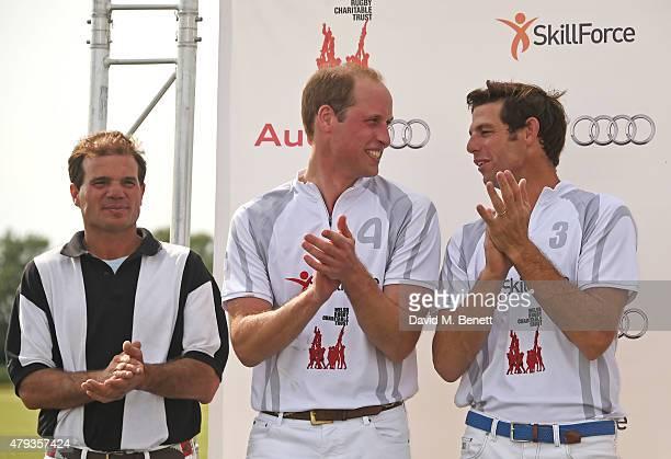 Prince William Duke of Cambridge and Malcolm Borwick attend the Audi Polo Challenge 2015 at Cambridge County Polo Club on July 3 2015 in Cambridge...